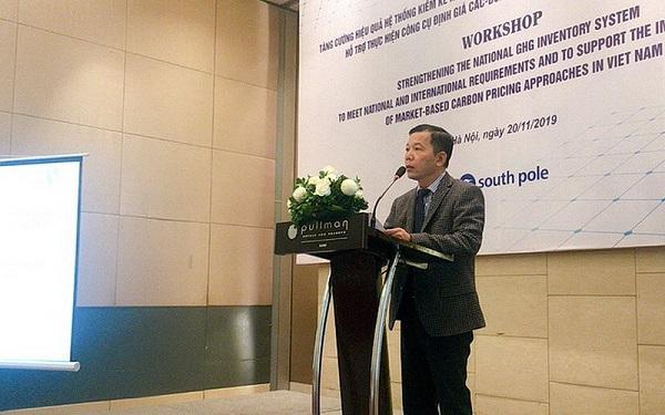 """Hội thảo """"Tăng cường hiệu quả hệ thống kiểm kê khí nhà kính quốc gia đáp ứng yêu cầu trong nước và quốc tế, hỗ trợ thực hiện công cụ định giá các - bon, cơ chế thị trường các - bon tại Việt Nam"""""""